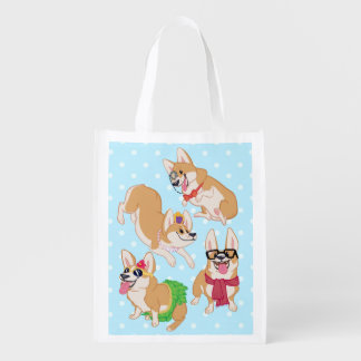 For the Love of Corgis Reuseable Fold Away Bag Reusable Grocery Bag