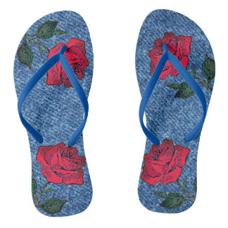 For the Love of Denim and Roses Flip Flops