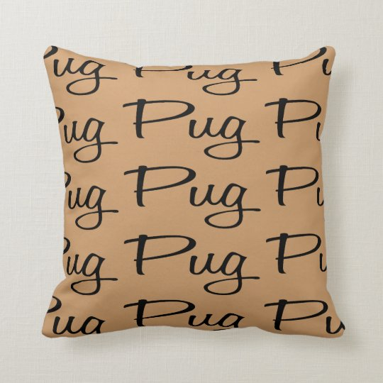 For the Love of the Pugs Throw Pillow