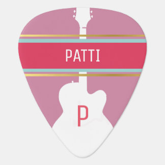 for the stylish guitar-girl a monogrammed pink guitar pick
