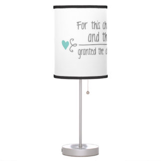 For This Child I Have Prayed Boy's Nursery Quote Table Lamp