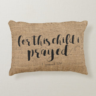 """For this child I prayed"" Nursery Cotton Pillow"