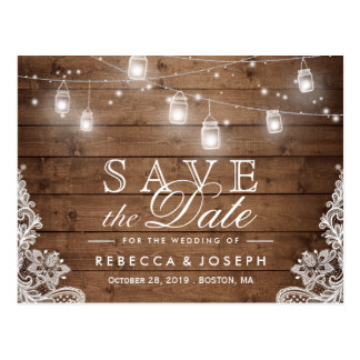 (for USPS) Rustic String Lights Lace Save the Date Postcard