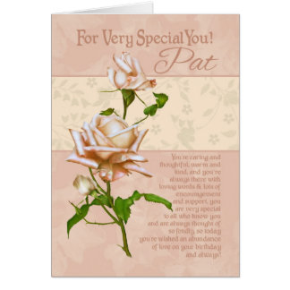 For Very Special Pat Birthday Rose Card