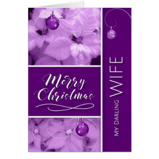for Wife Christmas Lavender Purple Poinsettia Card