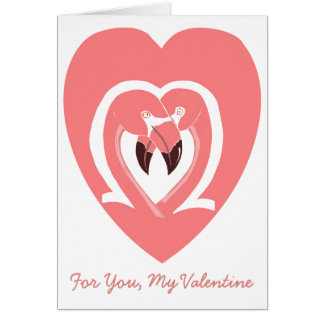 For You, My Valentine Flamingos Heart Card