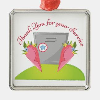 For Your Service Silver-Colored Square Ornament