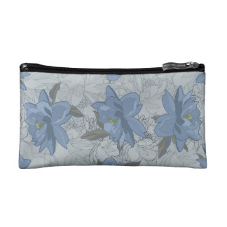 Foral blue lush flowers wedding pattern cosmetic bag