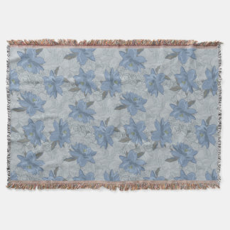 Foral blue lush flowers wedding pattern throw blanket