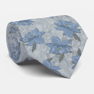 Foral blue lush flowers wedding pattern tie