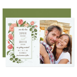Foral Embrace Save the Date Photo Card