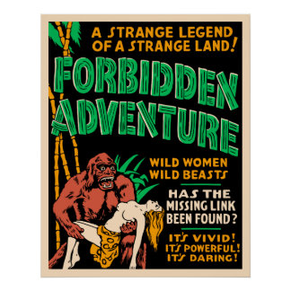 """Forbidden Adventure"" Vintage Jungle Poster"