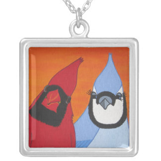 Forbidden Love Cardinal and Blue Jay Necklace