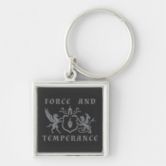 Force and Temperance Gray Coat of Arms Silver-Colored Square Keychain