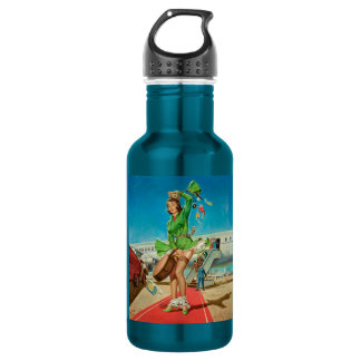 Forced landing retro pinup girl 532 ml water bottle