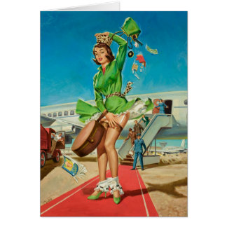 Forced landing retro pinup girl card
