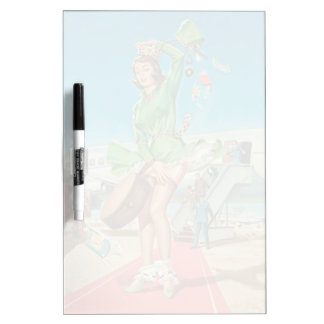 Forced landing retro pinup girl dry erase board