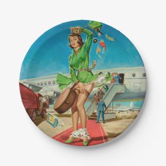 Forced landing retro pinup girl paper plate