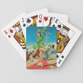 Forced landing retro pinup girl playing cards
