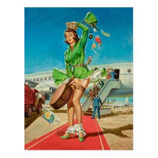 Forced landing retro pinup girl postcard