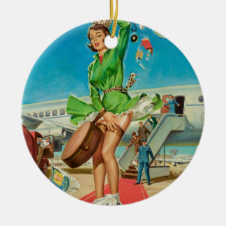Forced landing retro pinup girl round ceramic ornament