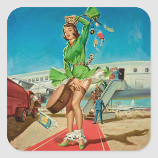 Forced landing retro pinup girl square sticker