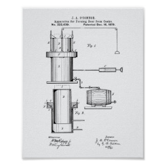 Forcing Beer 1879 Patent Art - White Paper Poster