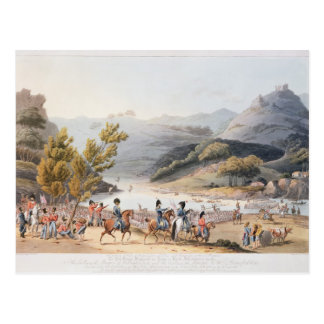 Fording of the River Mondego,engraved by C. Postcard