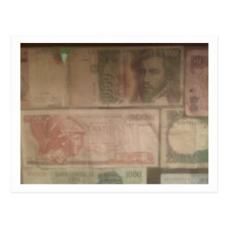Foreign currency postcard