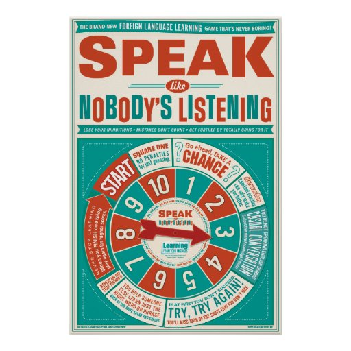 Foreign Language classroom poster (Speak like…)