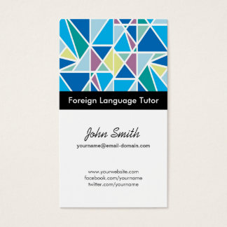 Foreign Language Tutor - Blue Abstract Geometry Business Card