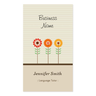 Foreign Language Tutor - Cute Floral Theme Pack Of Standard Business Cards