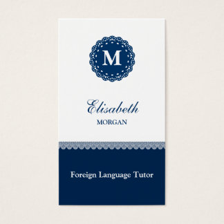 Foreign Language Tutor Elegant Blue Lace Monogram Business Card