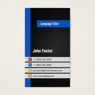 Foreign Language Tutor - Modern Stylish Blue Business Card