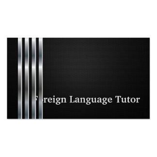 Foreign Language Tutor Professional Black Silver Pack Of Standard Business Cards