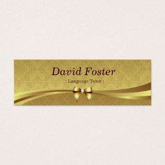 Foreign Language Tutor - Shiny Gold Damask Mini Business Card