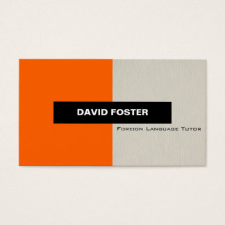 Foreign Language Tutor - Simple Elegant Stylish Business Card