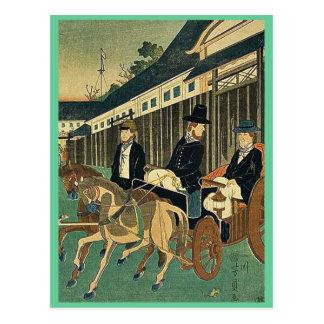 Foreign officials around town by Utagawa,Yoshikazu Postcard