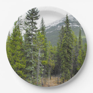 Forest and Mountain Scene Paper Plate