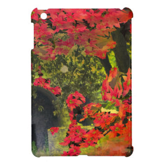 Forest and red flowers cover for the iPad mini