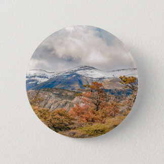 Forest and Snowy Mountains, Patagonia, Argentina 2 Inch Round Button