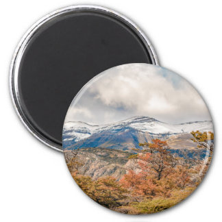 Forest and Snowy Mountains, Patagonia, Argentina 2 Inch Round Magnet