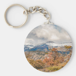 Forest and Snowy Mountains, Patagonia, Argentina Basic Round Button Keychain