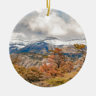 Forest and Snowy Mountains, Patagonia, Argentina Ceramic Ornament