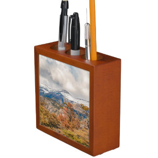 Forest and Snowy Mountains, Patagonia, Argentina Desk Organizer
