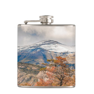 Forest and Snowy Mountains, Patagonia, Argentina Hip Flask
