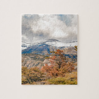 Forest and Snowy Mountains, Patagonia, Argentina Jigsaw Puzzle