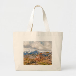 Forest and Snowy Mountains, Patagonia, Argentina Large Tote Bag