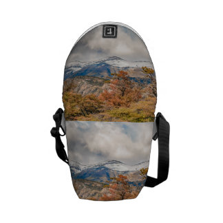 Forest and Snowy Mountains, Patagonia, Argentina Messenger Bags