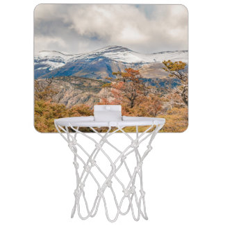 Forest and Snowy Mountains, Patagonia, Argentina Mini Basketball Hoop
